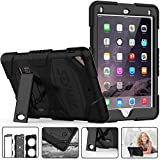 iPad 5th 6th Generation Case - SEYMAC Three Layer Heavy Duty Soft Silicone Hard Bumper Case with Kickstand Drop Protection Rugged Full-Body Protective Case for New iPad 9.7 inch 2017 2018(Black)