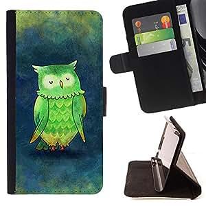 TEAL BLUE WATERCOLOR OWL GREEN PAINTING/ Personalizada del estilo del dise???¡Ào de la PU Caso de encargo del cuero del tir????n del soporte d - Cao - For Samsung Galaxy S6