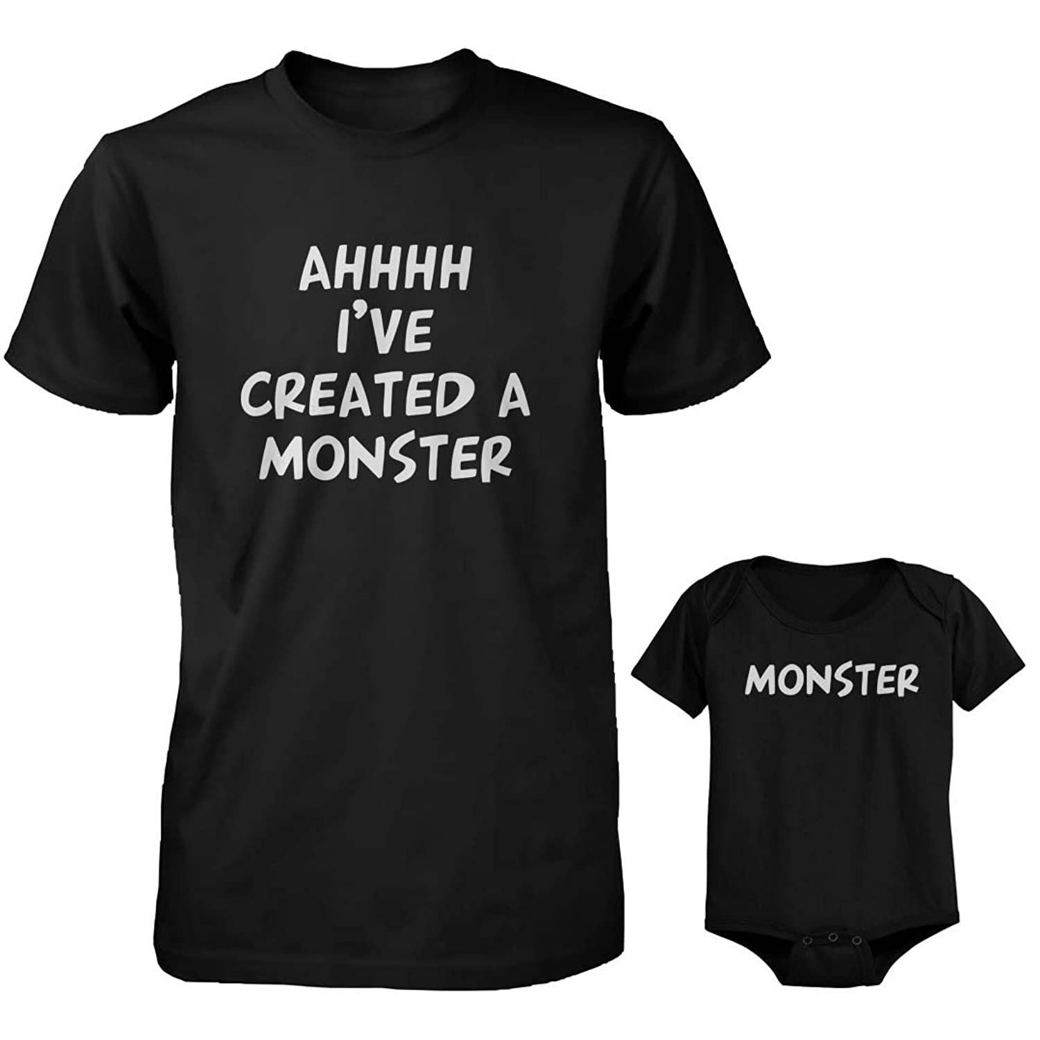 Black t shirt for babies - Amazon Com Daddy And Baby Matching T Shirt And Onesie Set Ahhh I Ve Created A Monster Clothing