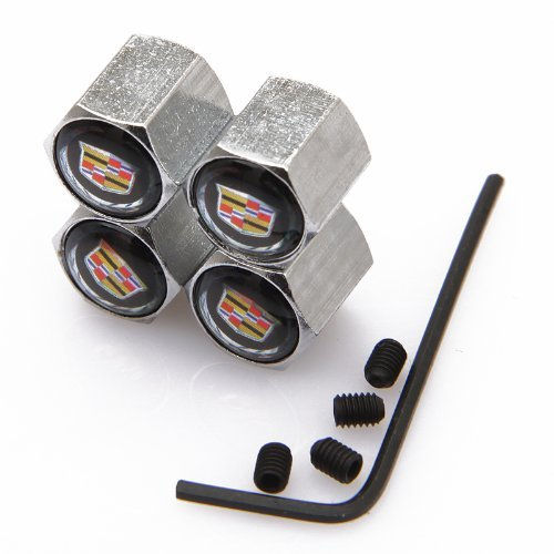 HYFML Zinc alloy Anti-theft Valve cap For Cadillac(Black) hongyangfumeilaiqicheyongpin