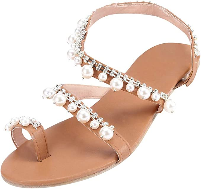 Sandalias con Perlas Talón Planas Chanclas Sandalias hechas a mano Zapatos de playa Bohemia Sandalia con Pulsera para Mujer