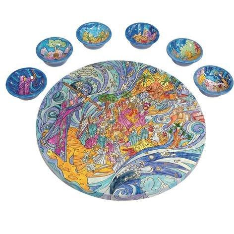 Passover Seder Plate Set - Yair Emanuel WOODEN PASSOVER SEDER PLATE THE EXODUS FROM EGYPT (Bundle)