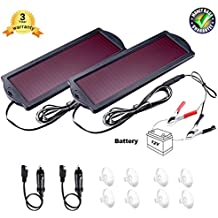 solar battery charger car 12V 1.8W solar car battery trickle charger Waterproof portable solar battery tender Amorphous solar panel For Rv Motorcycle Boat Marine Vehicle Snowmobile Watercraft.