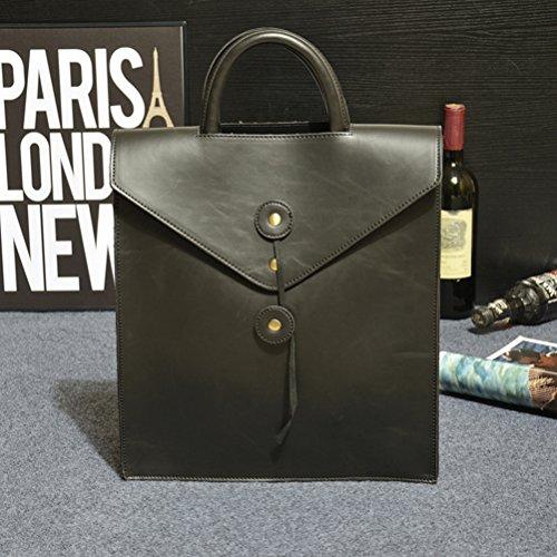 VIISHOW 2017 Bolso de escuela ocasional del diseño de la suposición del bolso del archivo del morral del nuevo bolso de los hombres - negro, marrón negro
