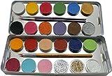Eulenspiegel - Schminkpalette mit 21 Farben, 3 Glitzer und 3 Pinsel