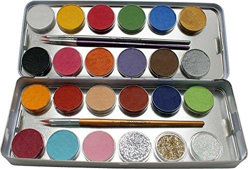 Eulenspiegel 224205 - Schminkpalette aus Metall, 3 Glitzer und 3 Pinsel, 21 Farben