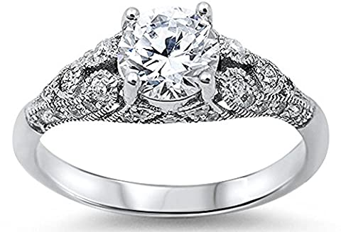 Sterling Silver Women's Vintage Antique Style Round Cubic Zirconia Engagement Ring Sizes 5 (Vintage Ring Size 5)