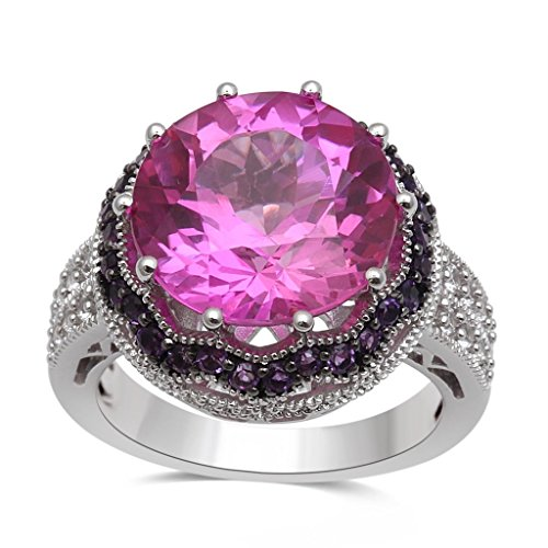 Jewelili Sterling Silver Created Pink Sapphire And Created White Sapphire Round Shape Cluster Ring, Size 7 (Round Pink Sapphire Ring)