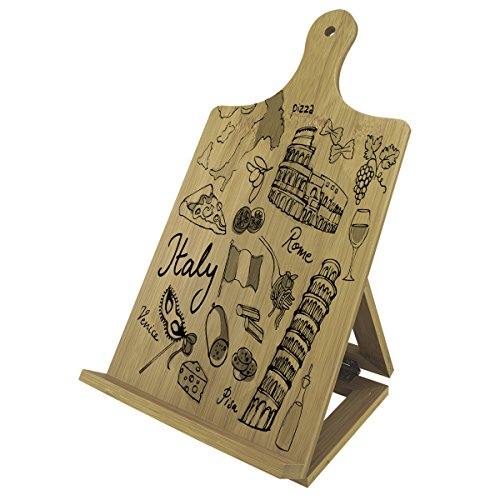 Italian Italy - Recipe Cook Book Tablet iPad Wood Bamboo Easel Stand (Italy Easel)