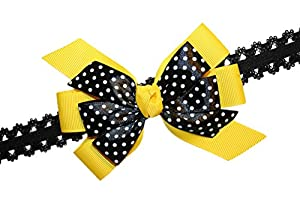 Baby Girls Yellow & Black Dotted Bee GrosGrain Hair Bow Stretch Headband USA