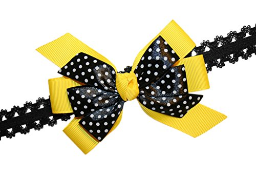 WD2U Baby Girls Yellow & Black Dotted Bee GrosGrain Hair Bow Stretch Headband USA - Bumble Bee Hair Bow
