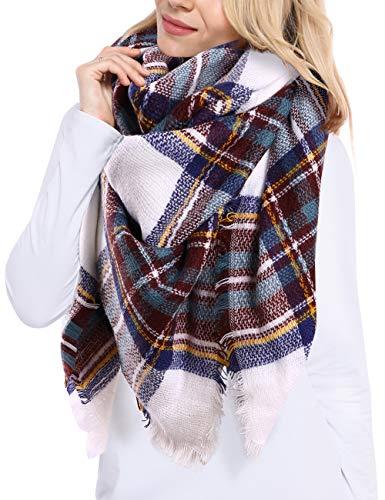 Bess Bridal Women's Plaid Blanket Winter Scarf Warm Cozy Tartan Wrap Oversized Shawl Cape (One Size, Brown)