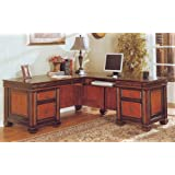 """Coaster Chomedey 800691 72"""" L-Shaped Desk with 5 Drawers File Storage Keyboard Drawer Bronze Hardware and Full Extension Glides in Espresso and Red Brown"""