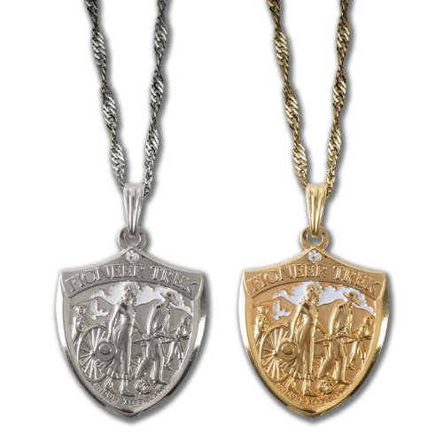 Pioneer Trek Shield Pendant (Gold) Necklace with clear stone