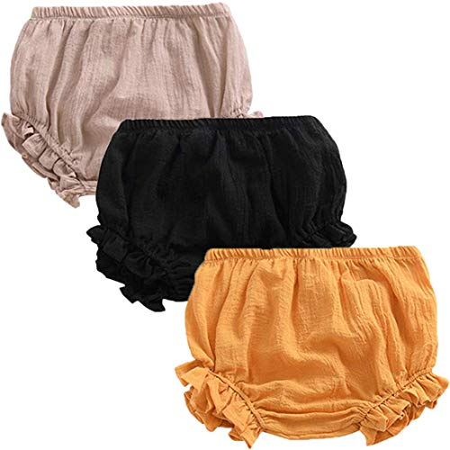 REWANGOING 3 Pack of Baby Infant Kids Girl Soild Cotton Linen Blend Soft Ruffle Bloomer Shorts Pants ()