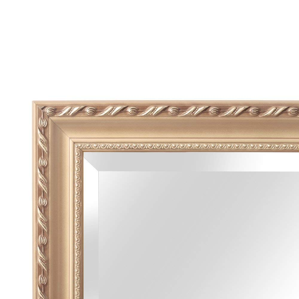 "H&A Full Length Floor Mirror - 65""x22"" Large Rectangle Wooden Finished Frame Standing Mirror - Cheval Dressing Mirror with Adjustable Stand for Bedroom, Champagne"