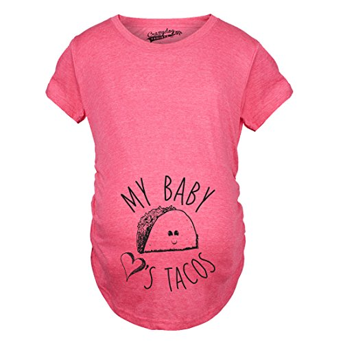 Maternity My Baby Loves Tacos Funny T Shirts Cute Announce Pregnancy Im Pregnant Bump T Shirt (Heather Pink) -M