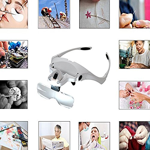 Lighted Headset Magnifying Glasses with lights Head Magnifier Loupe Headband for Close Work/Electronics/Eyelash/Crafts/Jewelry/Circuit Watch Repair,1.0X/1.5X/2.0X/2.5X/3.5X by MORDUEDDE (Image #1)