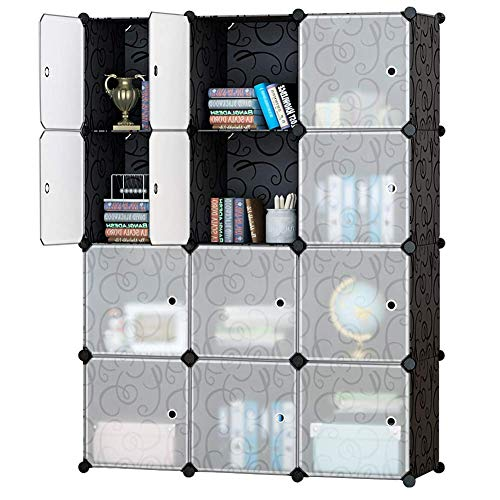 Honey Home Modular Plastic Storage Cube Closet Organizers, Portable DIY Wardrobes Cabinet Shelving with Doors for Bedroom/Office - 12 Cubes Black & White