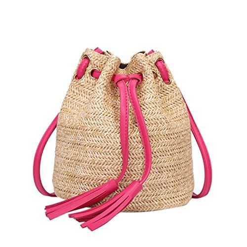 playa para mujeres Bolso de verano de la a playa de bohemio Bolso de retro tejido Paja bolso Crossbody mano Rosa bolso caliente Bolso RxHnzfUw