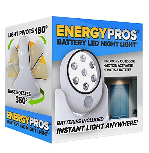 ENERGYPROS Battery LED Night Light - EVERYTHING INCLUDED! (4 Alkaline Batteries & Upgraded 3M Peel & Stick Tape!), Motion Activated Night Sensor, Rotate 360°, Indoors/Outdoors Water Resistant Angel Battery