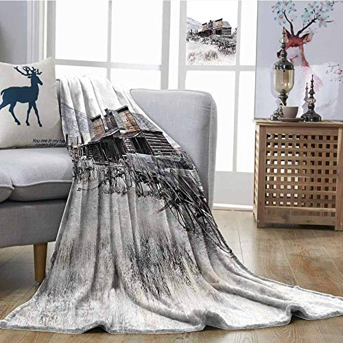 SONGDAYONE Cozy Flannel Blanket Old Wooden Wagons from 20s in Ghost Town Antique Wyoming Wheels Artwork Print Lightweight Super Soft Comfort W60 xL80 Brown White