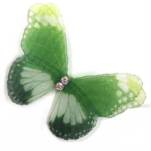 LOCHING Butterfly Necklace 925 Silver One Beautiful Butterfly Sweet Solitaire Choker Invisible Fishing Line illusion Elasticity Necklace (Green)