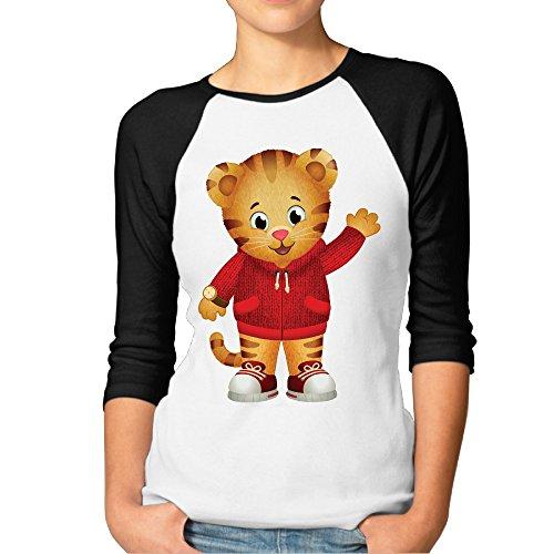 - DonSir Cartoon Cute Daniel Women Essential Raglan Tshirt Black L