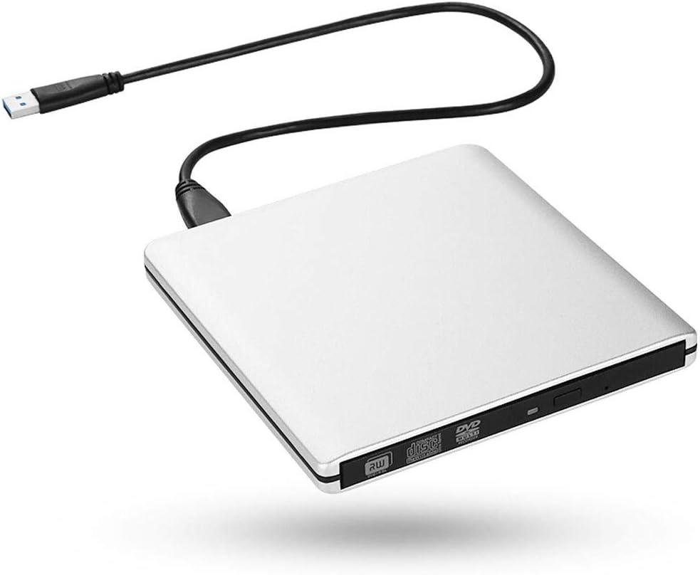 GAELLE USB Externo CD/DVD CD-ROM Plateado, Caja Portátil para ...