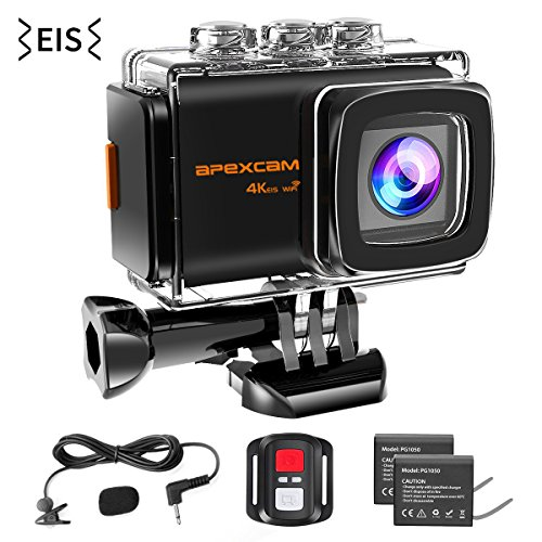 Apexcam 4K WiFi Action Camera,20MP EIS Waterproof Sports Camera 40M Ultra HD Underwater Camcorders External Microphone 170°Wide-Angle 2.0''LCD 2.4G Remote 2 Batteries and Accessories by Apexcam