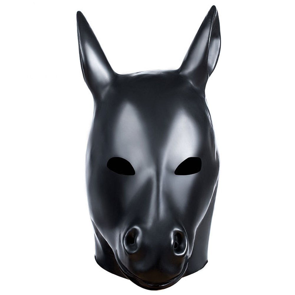 Natural Emulsion Horse-Head Mask for Cosplay Restraints Sex Toy Adult Party Costume
