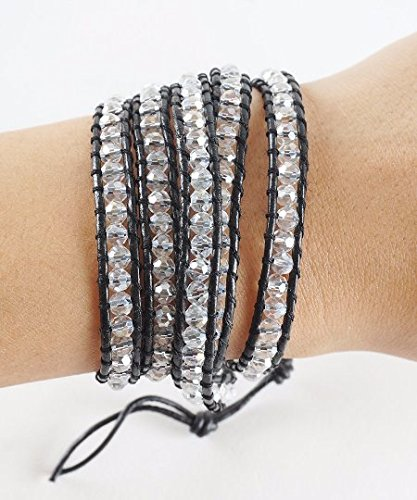 The Looking Glass Bohemian Boho Style Black Leather Wrap Square Clear Beads Jewelry Bracelet Wrap Fashion (34 Inches)