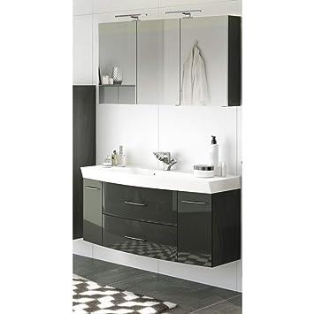 Lomadox Badezimmer Waschtisch & Spiegelschrank Set in Hochglanz grau ...