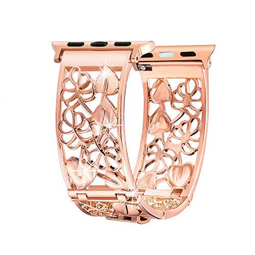 Compatible with Apple Watch Band 42mm 44mm Rose Gold, Breathable Hollow Out Floral Bands Strap Replacement Compatible with Apple Watch Series 4, 3, 2, 1, Sport and Nike+, Womens Fashion Wristbands - Fashion The Band