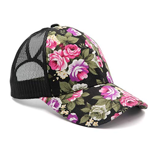 Lvaiz Womens Flower Pattern Mesh Trucker Ponytail Baseball Cap Hat Plain Messy High Buns Mesh Trucker Ponycaps for Girls