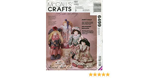 McCall/'s 6499 Vintage 23 Stuffed Dainty Dolls Sewing Pattern with Doll Dress and Jumpsuit Pattern