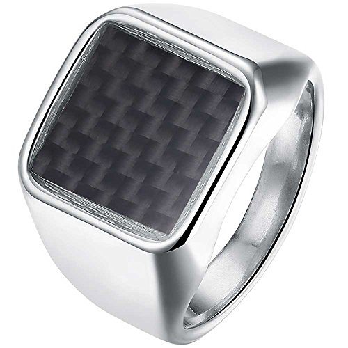 XAHH Jewelry Men's Stainless Steel Fashion Vintage Punk Style Square Top Signet Weave Ring,Silver Black Size - Style Punk Vintage