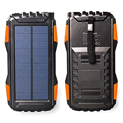 Friengood Solar Charger, Portable 25000mAh Solar Power Bank, Waterproof Solar External Battery Pack with Dual USB Ports and Flashlight for iPhone, iPad, Samsung, Android Phones and More