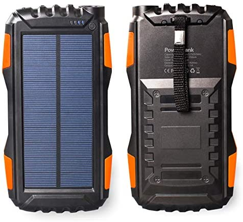 Friengood Solar Power Bank 25000mAh, Portable Solar Phone Charger External Solar Powered Battery Charger with Dual USB and LED Flashlights for iPhone, iPad, Android Cellphones and More Orange