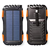 Friengood Solar Power Bank 25000mAh, Portable Solar Phone Charger External Solar Powered Battery Charger with Dual USB and LED Flashlights for iPhone, iPad, Android Cellphones and More (Orange)