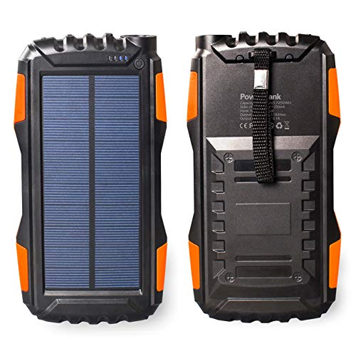 Friengood Solar Power Bank 25000mAh, Portable Solar Phone Charger External Solar Powered Battery Charger with Dual USB and LED Flashlights for iPhone, iPad, Android Cellphones and More (Orange) ()