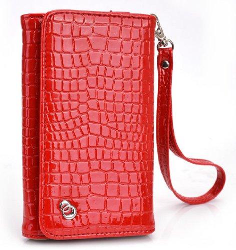 Aurora Red MustHave Wristlet Croc Wallet Case for Plum Sync 4.0b, Axe Plus, Check Plus, Posh Pegasus 4G Smartphone