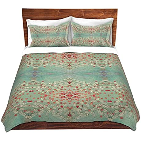 DiaNoche Designs Microfiber Duvet Covers Paper Mosaic Studio Abstract Turquoise Red