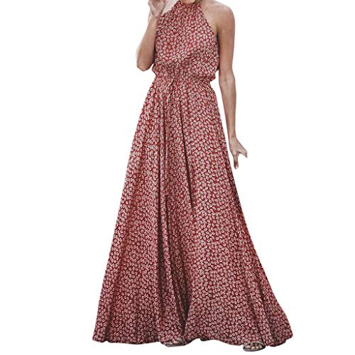 Witspace Fashion Women Casual Print Halter Evening Party Bandage Sleeveless Long Dress