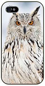 iPhone 4 / 4s White big owl - black plastic case / Animals and Nature, owl, owls