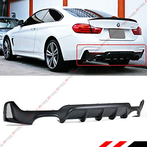 Fits for 2014-2019 BMW F32 F33 F36 4 Series M Sport Performance Style Rear Bumper Diffuser Quad Exhaust Tip Opening (Best Exhaust For Bmw 435i)