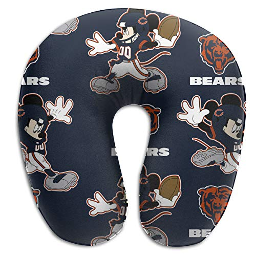 Sorcerer Design Colorful Neck Pillow Chicago Bears American Football Team Rest for Airplanes Travel Pillow Funny Mouse Convenience Sleeping Neck Pain U-Shaped ()