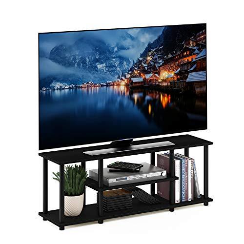 Furinno Turn-N-Tube 3-Tier Entertainment TV Stands, Round, Walnut/Black