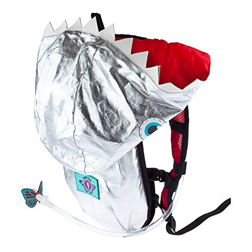 Dan-Pak Hydration Pack 2l -Shark Bite - Silver Shark Teeth Hooded Bag for Raves and Festivals