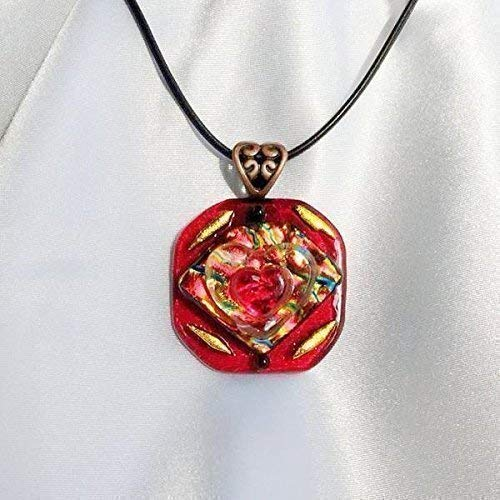 QUEEN OF HEARTS Jewelry Pendant & Necklace Red Gold Copper Dichroic Fused Glass